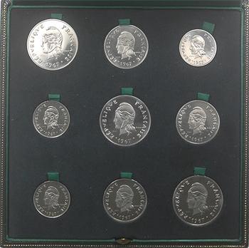 Nouvelle Calédonie, Nouvelles Hébrides et Polynésie, coffret de 9 essais de 50, 20 et 10 francs, 1967 Paris