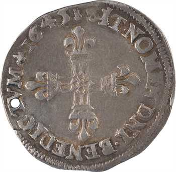 Louis XIV, quart d'écu, écu de face, 1645 Perpignan