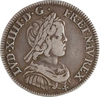 Louis XIV, quart d'écu à la mèche courte, 1644/3 Paris (rose)