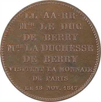 Louis XVIII, duc et duchesse de Berry, visite de la Monnaie de Paris, 1817 Paris