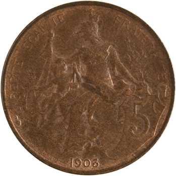 IIIe République, 5 centimes Daniel-Dupuis, 1903 Paris