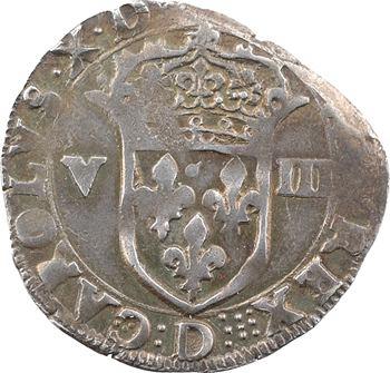 Charles X, huitième d'écu, écu de face, 1593 Lyon