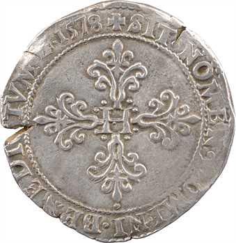 Henri III, franc au col plat, 1578 Troyes