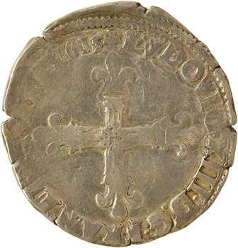 Louis XIII, quart d'écu, croix de face, 1615 Angers