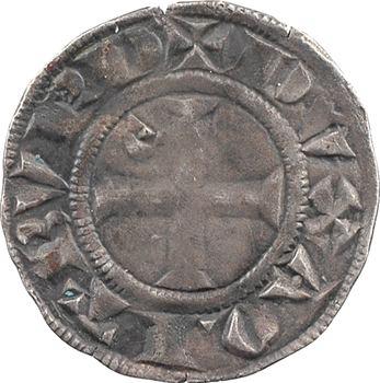 Aquitaine (duché d'), Édouard Ier, denier au léopard, 3e type (E en diagonale)