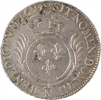 Louis XIV, quart d'écu aux palmes, 1694 Montpellier