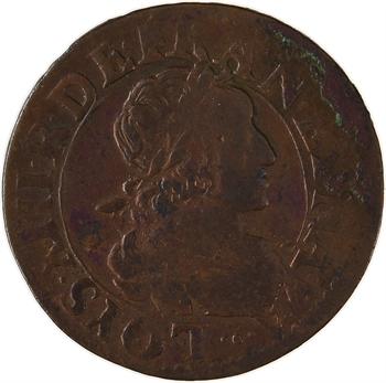 Louis XIII, double tournois 2e type, 1639 Rouen