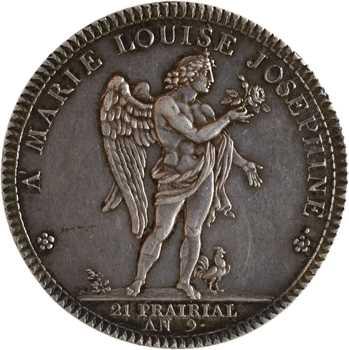 Consulat, le Roi et la Reine d'Étrurie visitent Paris, 1er type, par Dupré, détournée en médaille de mariage, 1801 Paris