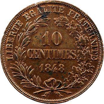 IIe République, piéfort bronze de 10 centimes par Domard