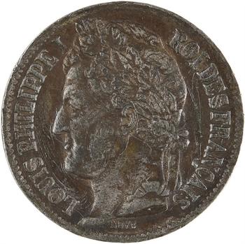 Louis-Philippe Ier, essai de 2 centimes par Bovy, en étain, 1843 Paris