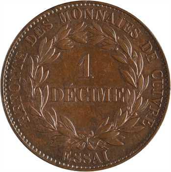 Louis-Philippe Ier, essai d'1 décime, refonte des monnaies de cuivre, poids lourd, 1840 Paris