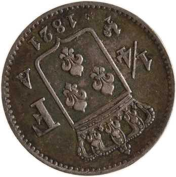 Louis XVIII, 1/4 de franc, 1821 Paris, variété coins tournés