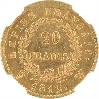 Premier Empire, 20 francs Empire, 1812 Lille, NGC AU58