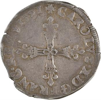Charles X, quart d'écu croix de face, 1591 Paris