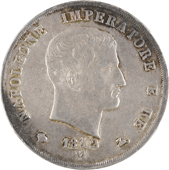 Italie, Napoléon Ier, 5 lire, 1812 Milan