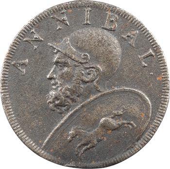 Carthage, jeton uniface, Hannibal Barca, par Dassier, s.d. Genève