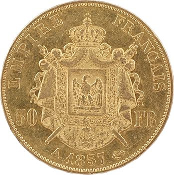 Second Empire, 50 francs tête nue, 1857 Paris