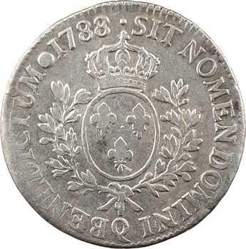 Louis XVI, écu aux branches d'olivier, 1788 Perpignan
