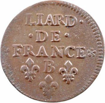 Louis XIV, liard de cuivre, 2e type, 1657 Acquigny