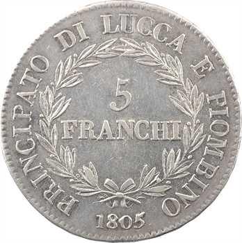 Italie, Lucques et Piombino, 5 franchi, 1805 Florence