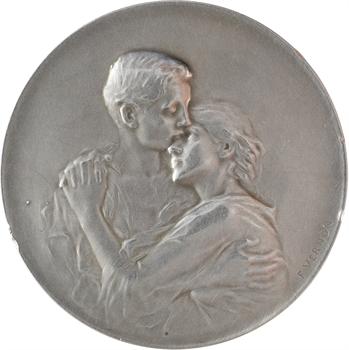 Vernon (F.) : Couple enlacé, médaille de mariage, s.d. Paris