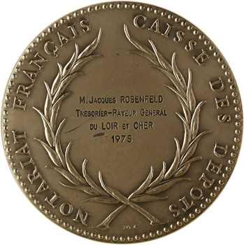 Ve République, Caisse des dépôts du Notariat Français, en argent, par Charon, 1975 Paris