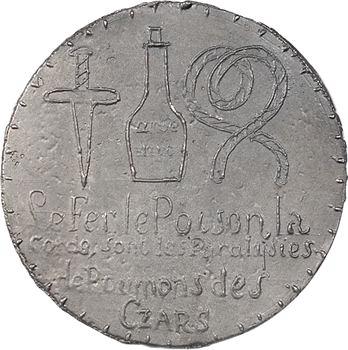 Russie, médaille satirique française, mort de Nicolas Ier de Russie, 1855 Paris