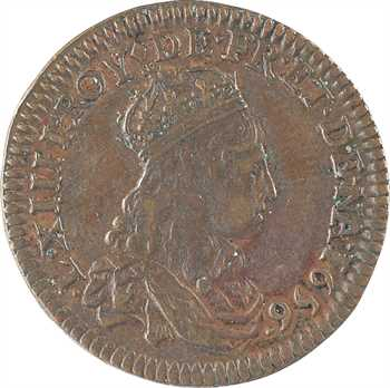 Louis XIV, liard de France à la double effigie, type 3, 1655-1656 Vimy