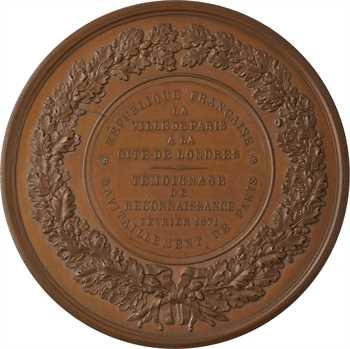 Siège de Paris, médaille de reconnaissance de la Ville envers Londres (ravitaillement), dans sa boîte, 1871 Paris