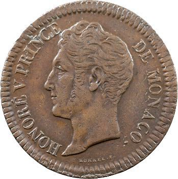 Monaco, Honoré V, un décime, 1838 Monaco