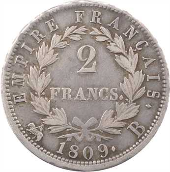 Premier Empire, 2 francs Empire, 1809 Rouen