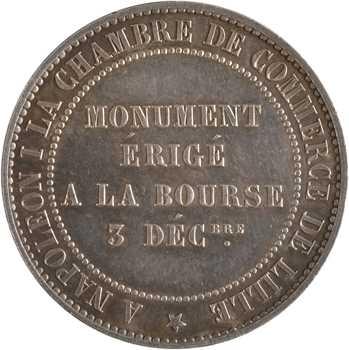 Second Empire, dix centimes tête nue, monument de la Bourse, en argent, 1854 Lille