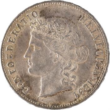 Suisse, Confédération helvétique, 5 francs, 1891 Berne