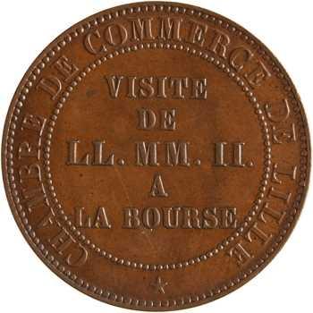 Second Empire, cinq centimes tête nue, visite de la Bourse de Lille, 1853