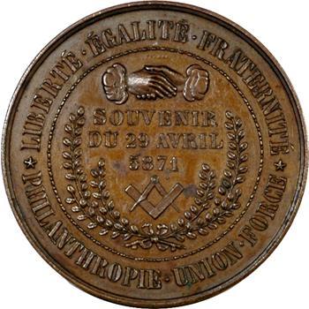 Gvt de Défense nationale, médaille maçonnique, souvenir du 29 avril, 5871 (1871) Paris
