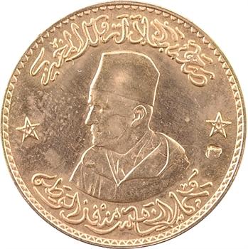 Maroc, Mohammed V, médaille monétiforme en or, moyen module, Restauration de la Monarchie au Maroc, AH 1375 (1956)
