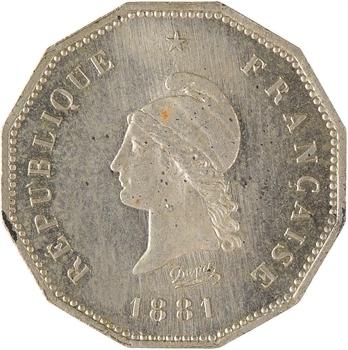 IIIe République, essai de 5 centimes Dupré, flan à 12 pans, 1881 Paris