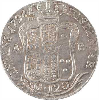 Italie, Naples (royaume de), Ferdinand IV, piastre de 120 grana, 1798