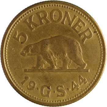 Danemark, Groenland, 5 kroner, 1944 Philadelphie