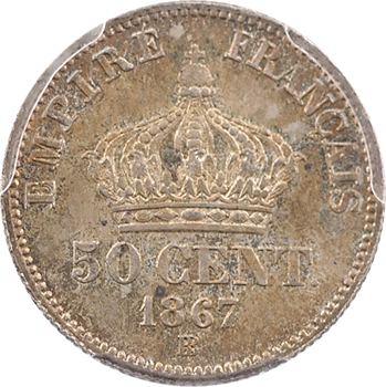 Second Empire, 50 centimes tête laurée, 1867 Strasbourg, PCGS MS65