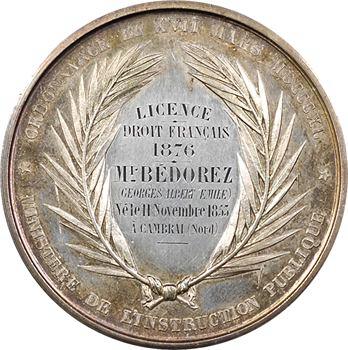 IIIe République, prix de la Faculté de Droit de Douai, par Farochon, 1876 Paris