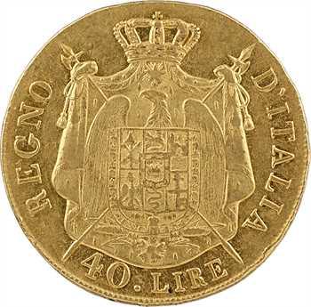Italie, Napoléon Ier, 40 lire tranche en relief, 1808 Milan sans lettre d'atelier