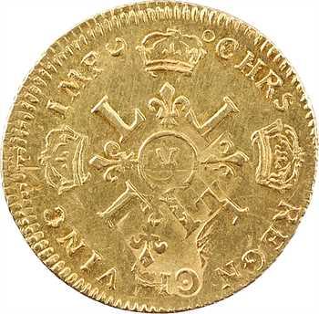 Louis XIV, louis d'or aux quatre L, 1697 Troyes