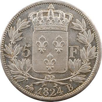 Louis XVIII, 5 francs buste nu, 1824 Rouen