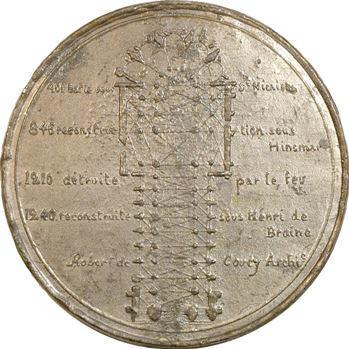IIe République, Reims, la cathédrale et son plan, 1850 Reims