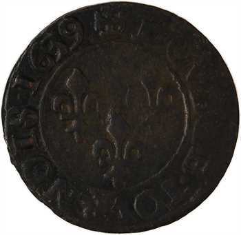 Louis XIII, double tournois 19e type, 1639 Tours