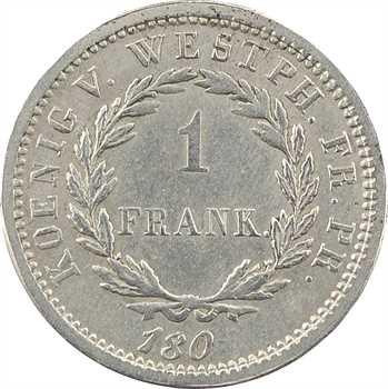 Allemagne, Westphalie (royaume de), Jérôme Napoléon, essai du 1 franc, 180- Cassel ?