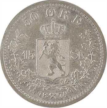 Norvège, Oscar II, 50 ore, 1874 Kongsberg