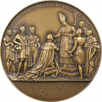 Charles X, sacre à Reims le 29 mai 1825, par Gatteaux et Barre, bronze, 1825, refrappe moderne Paris