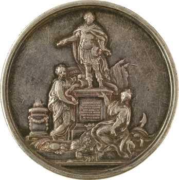 Louis XV/Premier Empire, pose première pierre de sa statue à Rennes, détournée en médaille de mariage, 1744 (1805) Paris